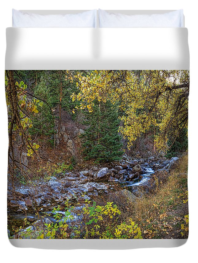 Autumn Duvet Cover featuring the photograph Boulder Creek Autumn View by James BO Insogna