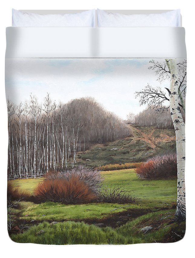 Artell Duvet Cover featuring the painting Boulder Pass by Artell Harris