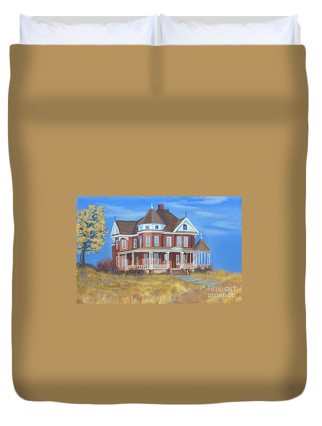 Boulder Duvet Cover featuring the painting Boulder Victorian by Jerry McElroy