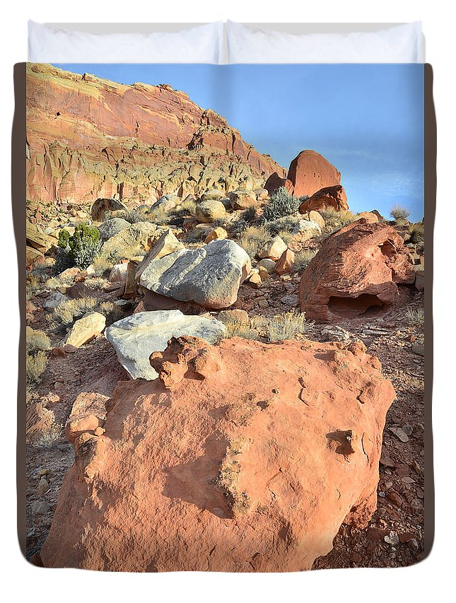 Capitol Reef National Park Duvet Cover featuring the photograph Boulders Above Camprground by Ray Mathis