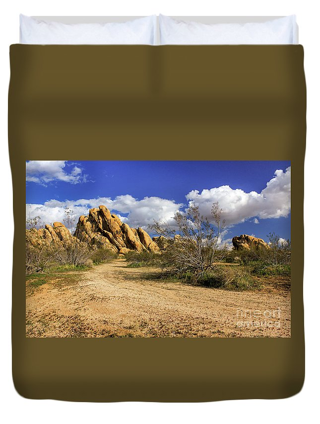 Landscape Duvet Cover featuring the photograph Boulders At Apple Valley by James Eddy