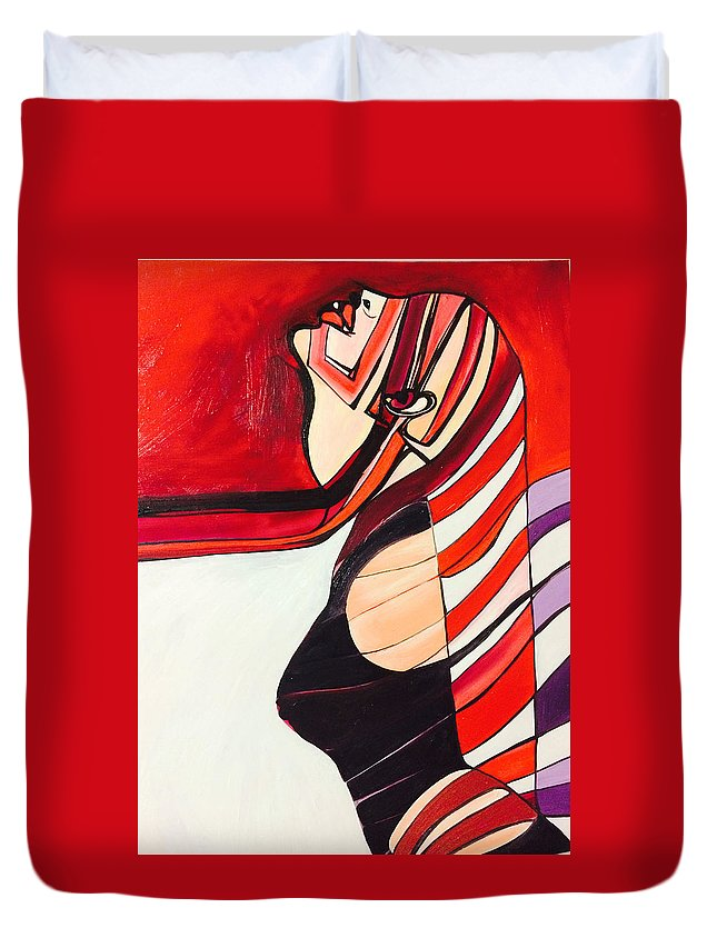 Freedom Duvet Cover featuring the painting Bound by Ruby Vartan
