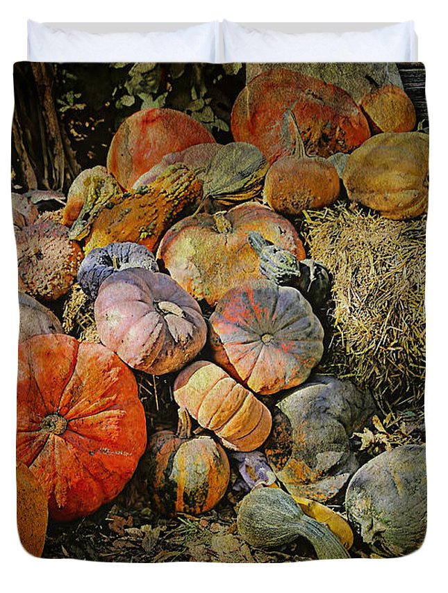 Pumpkins Duvet Cover featuring the photograph Bountiful Fall Harvest by Theresa Campbell