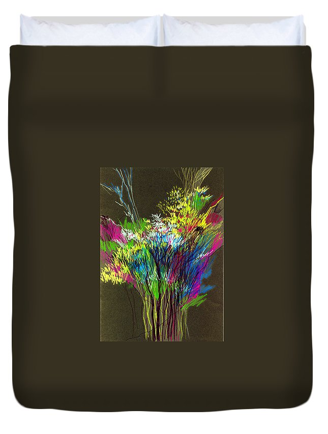 Flowers Duvet Cover featuring the painting Bouquet by Anil Nene