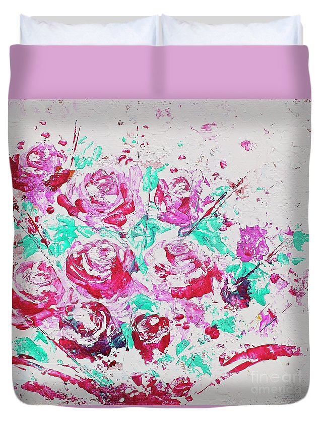 Flowers Duvet Cover featuring the painting Bouquet Of Pink Roses by Angelina Cornidez