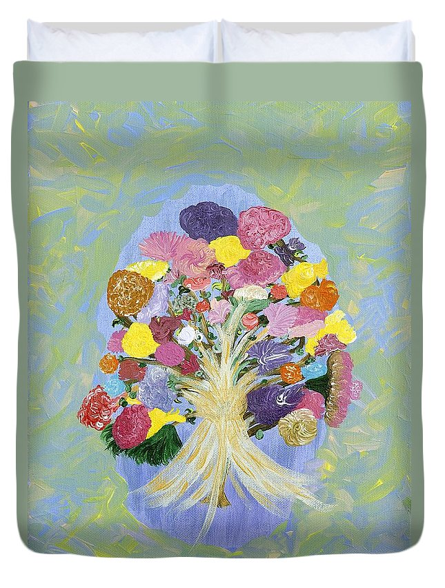 Flowers Duvet Cover featuring the painting Bouquet Today by Sara Credito