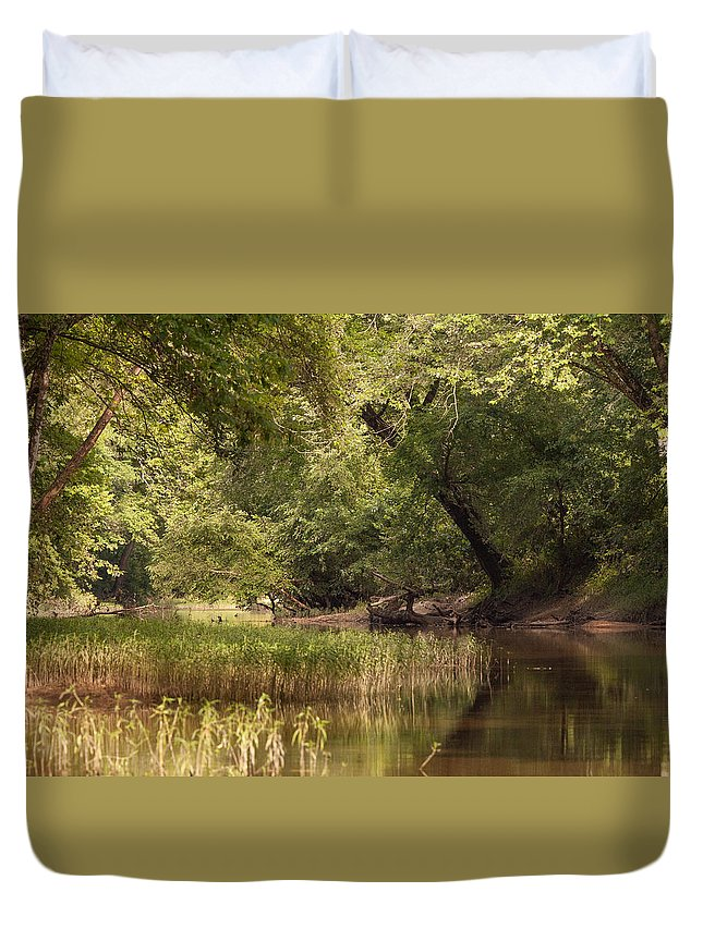 Water Duvet Cover featuring the painting Bourbeuse Reflection by Sandy Brooks
