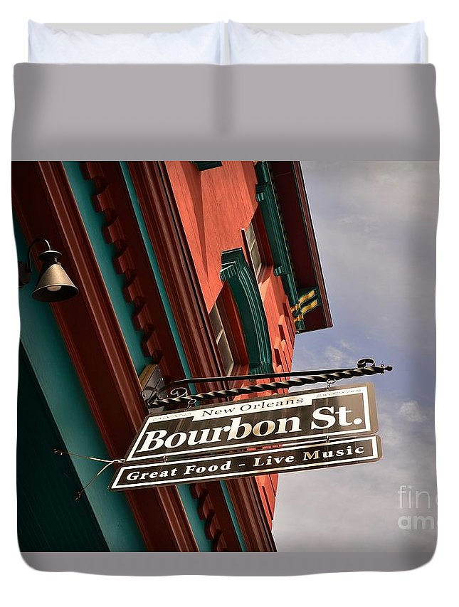 Duvet Cover featuring the photograph Bourbon Street Sign by Bob Sample