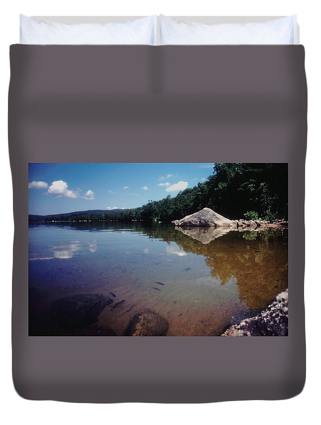 New Hampshire Duvet Cover featuring the photograph Bow Lake Tranquility by Ron Swonger
