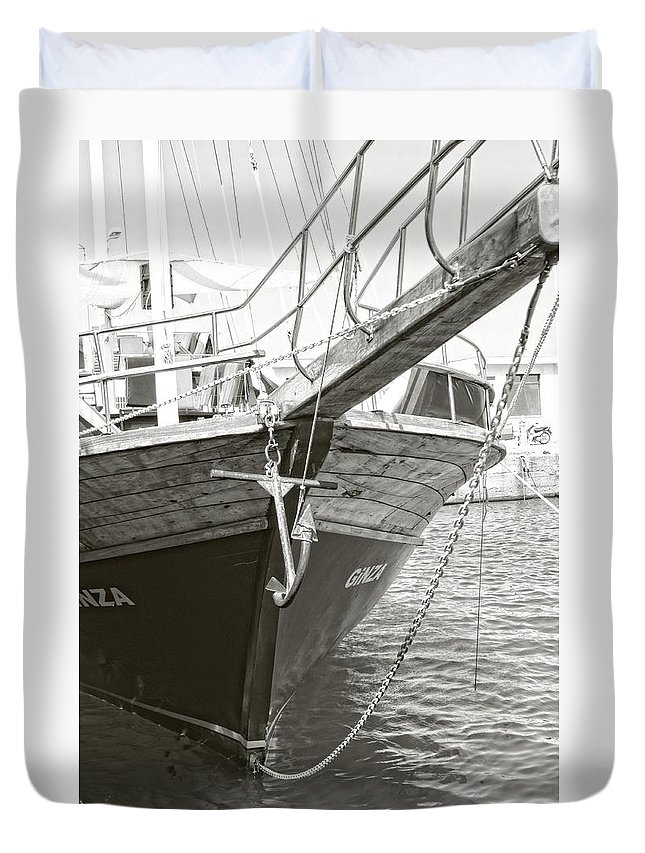 Boat Duvet Cover featuring the photograph Bow Of The Boat by Nick Difi