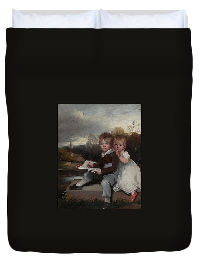 John Hoppner Duvet Cover featuring the painting Bowden Children by MotionAge Designs