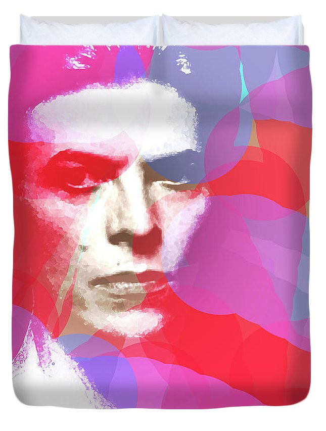 Bowie Duvet Cover featuring the mixed media Bowie 70s Chic by Enki Art