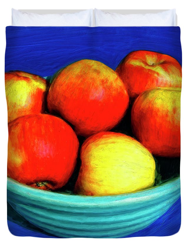 Bowl Of Apples Duvet Cover featuring the painting Bowl Of Apples by Dominic Piperata