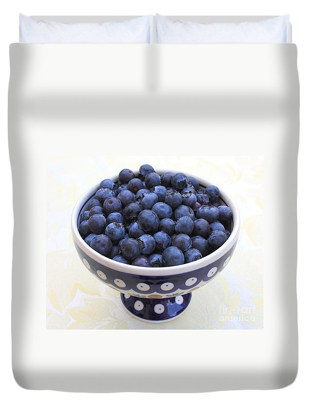 Blueberries Duvet Cover featuring the photograph Bowl Of Blueberries by Carol Groenen