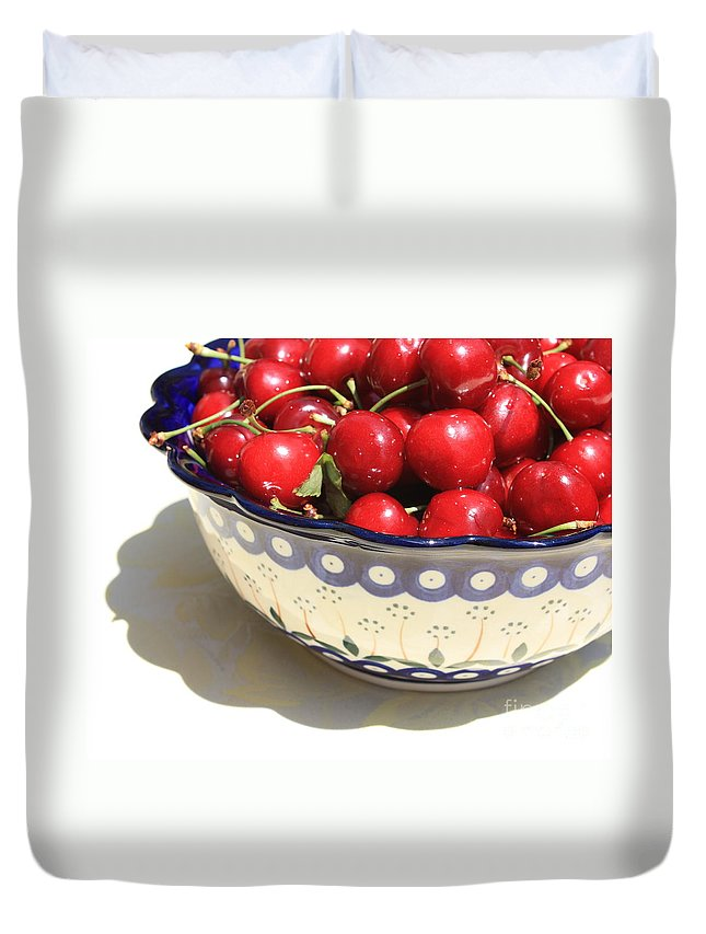 Cherries Duvet Cover featuring the photograph Bowl Of Cherries With Shadow by Carol Groenen
