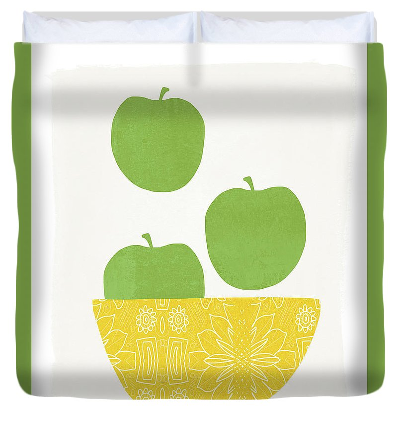 Apples Duvet Cover featuring the painting Bowl Of Green Apples- Art By Linda Woods by Linda Woods