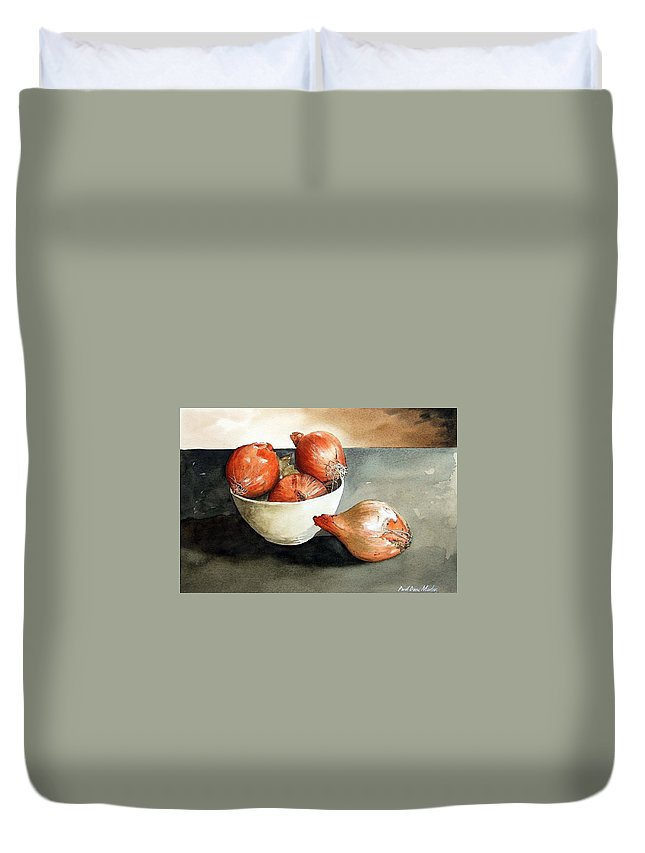 Still Life Duvet Cover featuring the painting Bowl Of Onions by Paul Dene Marlor