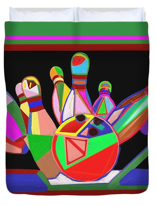 Bowling Duvet Cover featuring the painting Bowling Sports Fans Decoration Acrylic Fineart By Navinjoshi At Fineartamerica.com Down Load Jpg F by Navin Joshi