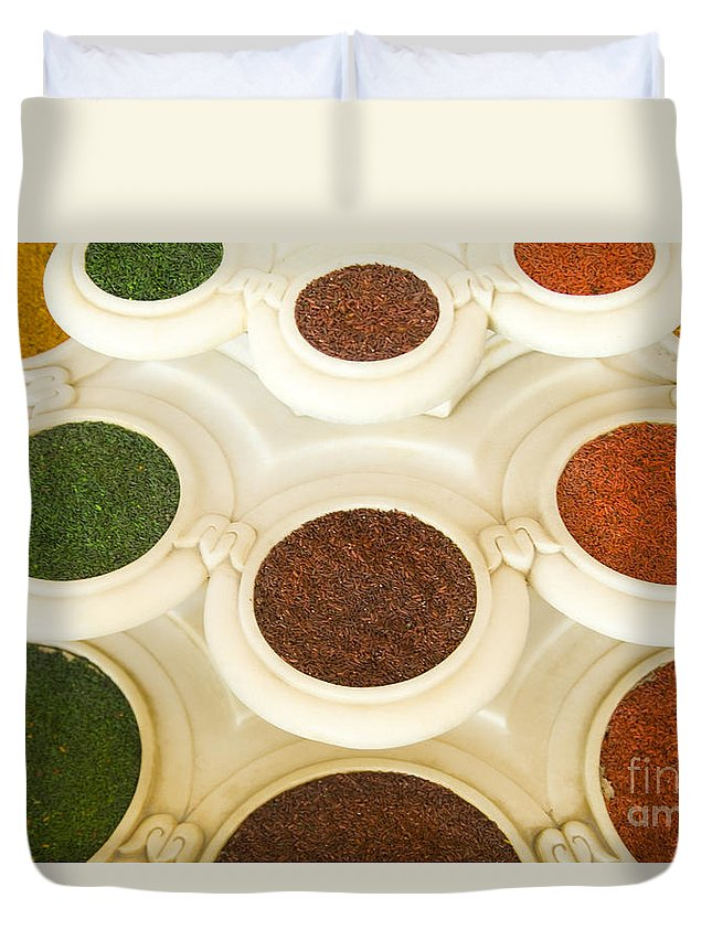 Abstract Duvet Cover featuring the photograph Bowls Of Spices - India by Bill Bachmann - Printscapes