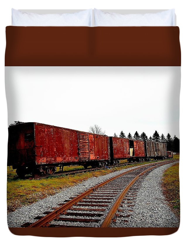 Box Cars Duvet Cover featuring the photograph Box Cars by Charles J Pfohl