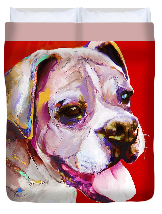Boxer Duvet Cover featuring the painting Boxer Dog by Jackie Jacobson
