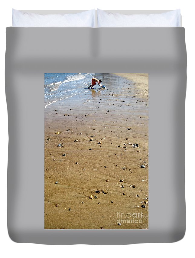 Beach Duvet Cover featuring the photograph Boy Beach Truck by Aquadro Photography