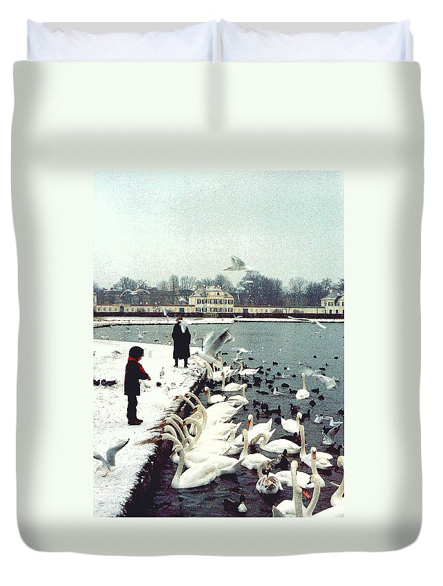 Swans Duvet Cover featuring the photograph Boy Feeding Swans- Germany by Nancy Mueller