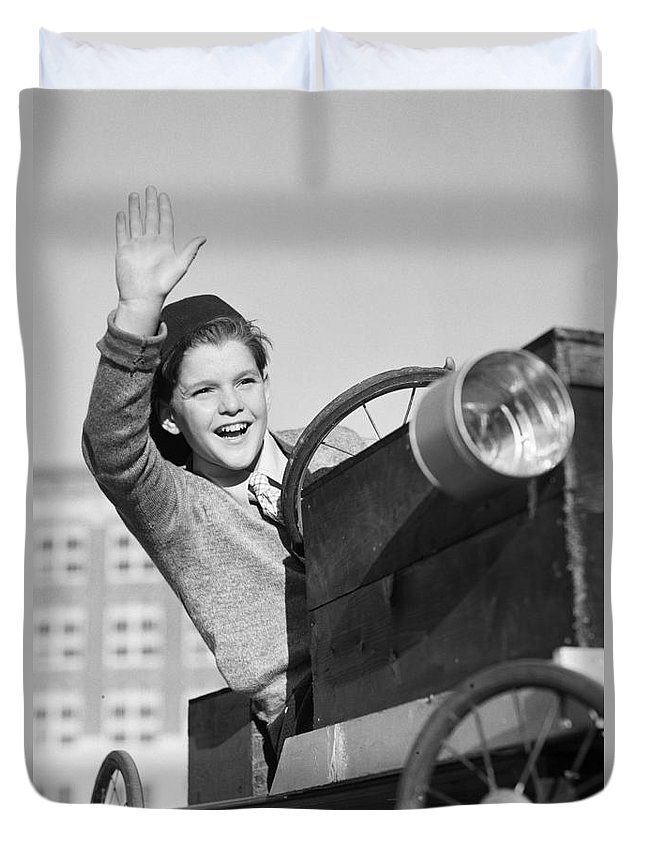 1930s Duvet Cover featuring the photograph Boy In In Go-cart, C.1940-30s by Debrocke/ClassicStock