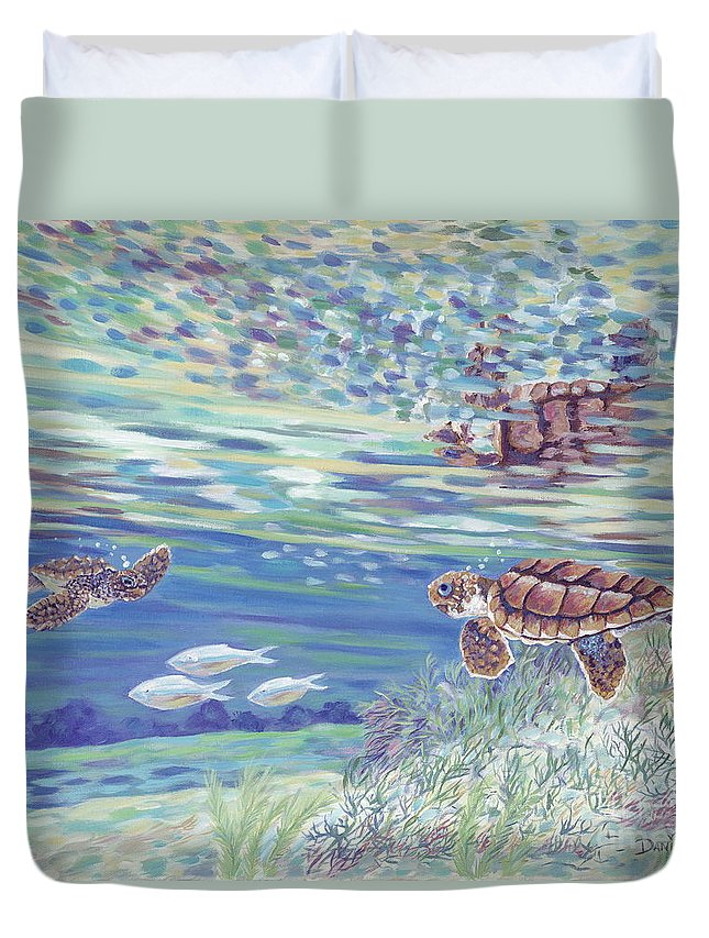 Ocean Duvet Cover featuring the painting Boy Meets Girl by Danielle Perry