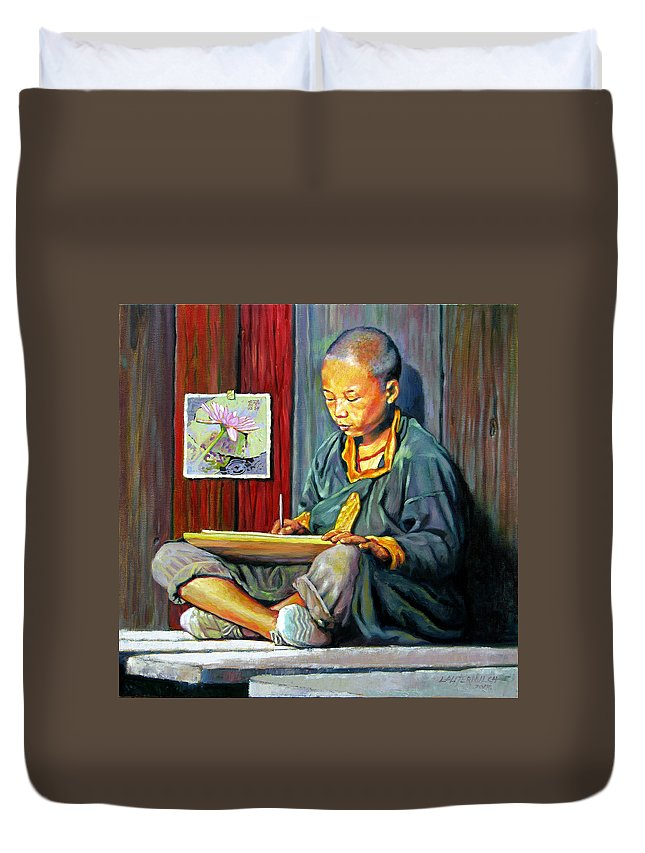 Chinese Boy Duvet Cover featuring the painting Boy Painting Lilies by John Lautermilch