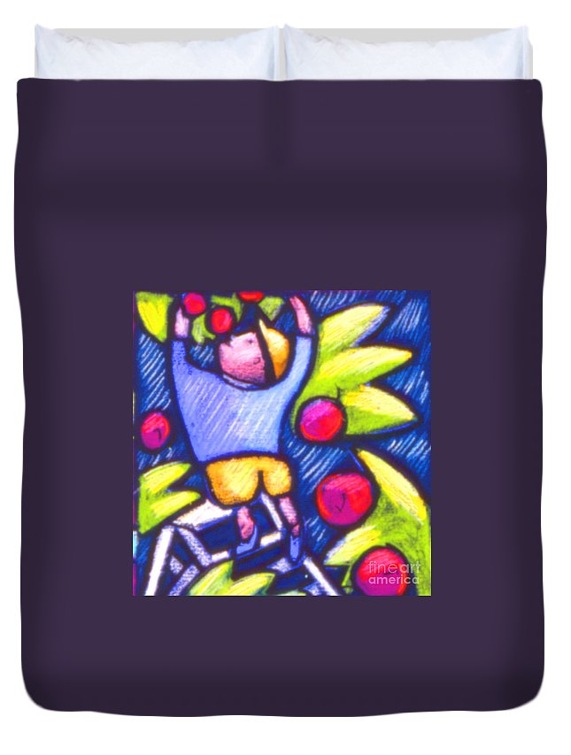Illustration Duvet Cover featuring the painting Boy Picking Apples by Angelina Marino