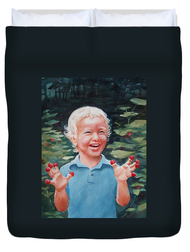 Boy Duvet Cover featuring the painting Boy With Raspberries by Marilyn Jacobson