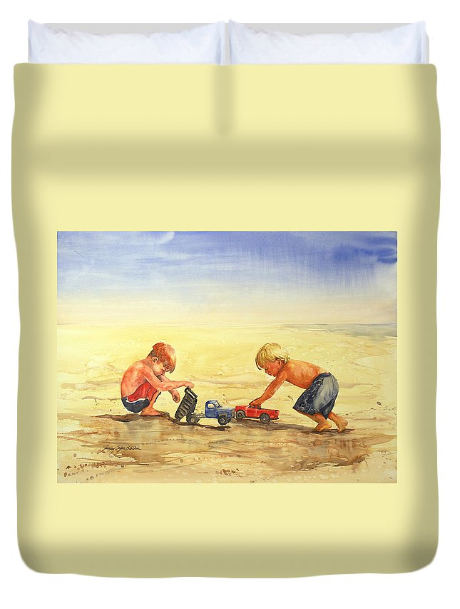 Boys Duvet Cover featuring the painting Boys And Trucks On The Beach by Shirley Sykes Bracken