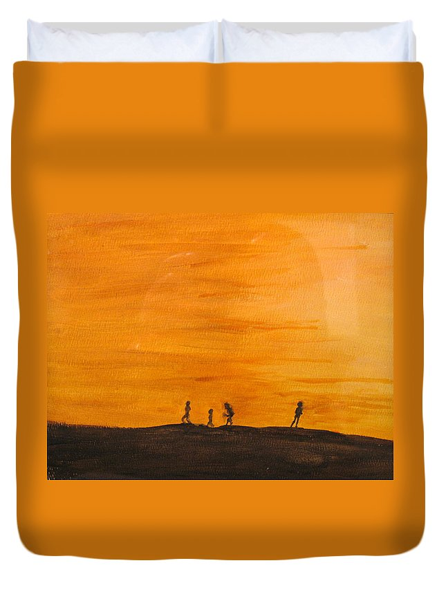 Boys Duvet Cover featuring the painting Boys At Sunset by Ian MacDonald