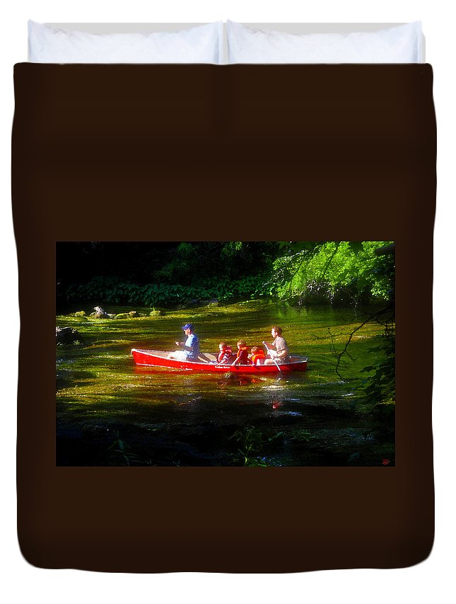 Boys Duvet Cover featuring the painting Boy's Day Out by David Lee Thompson