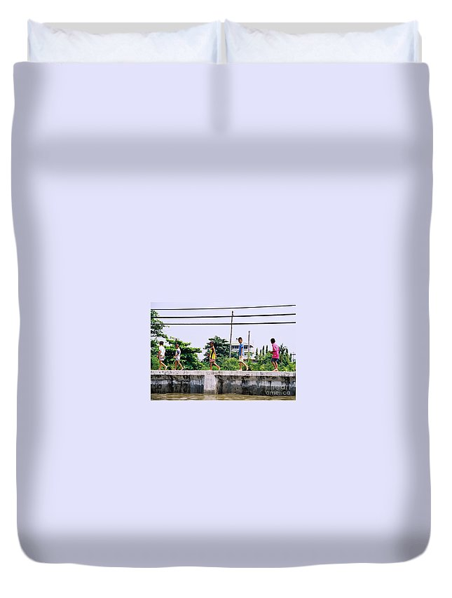 Children Duvet Cover featuring the photograph Boys In Bangkok by Mary Rogers