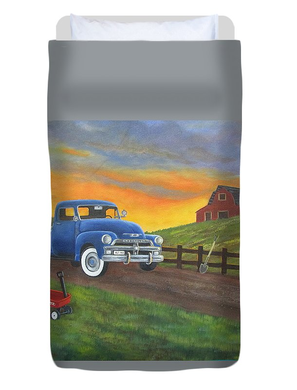 Duvet Cover featuring the painting Boys Toys by Sharon Coray
