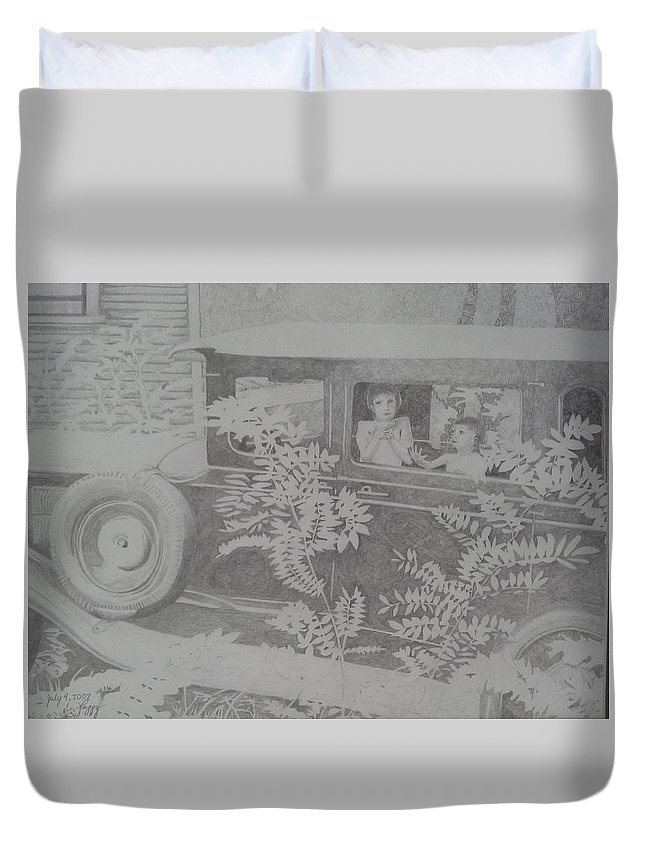 Model A Classic Car. Hot Summer Day In Hendersonville Duvet Cover featuring the drawing Happy's 2002 Boys With Dove In Model A by Happy Byrd