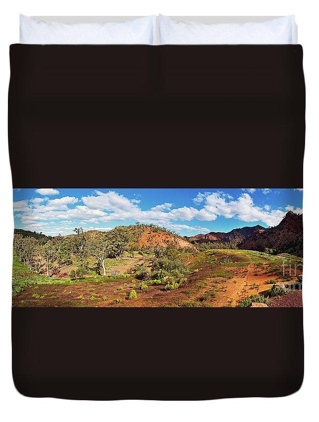 Bracchina Gorge Flinders Ranges South Australia Landscape Panorama Outback Australian Landscapes Duvet Cover featuring the photograph Bracchina Gorge Flinders Ranges South Australia by Bill Robinson