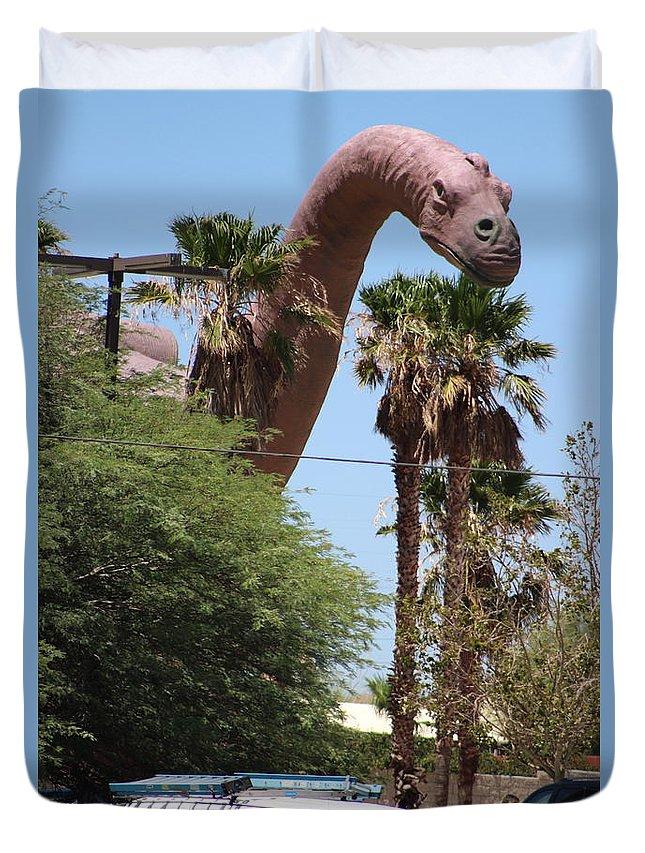 Brachiosaurus Duvet Cover featuring the photograph Brachiosaurus Running Through Cabazon by Colleen Cornelius
