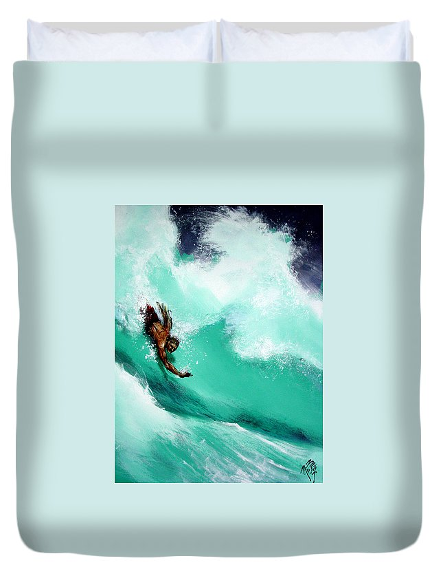 Body Surfer Duvet Cover featuring the painting Brad Miller In Makaha Shorebreak by Paul Miller