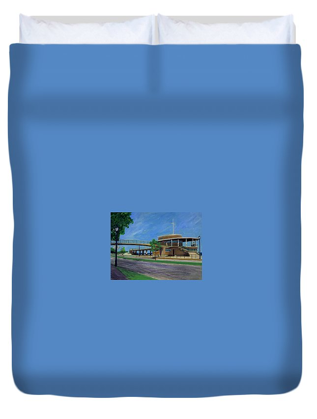 Miexed Media Duvet Cover featuring the mixed media Bradford Beach House by Anita Burgermeister