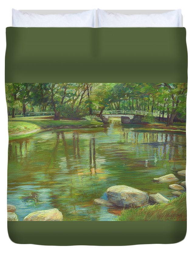 Mcgrath Duvet Cover featuring the painting Bradford Ma College Pond by Leslie Alfred McGrath