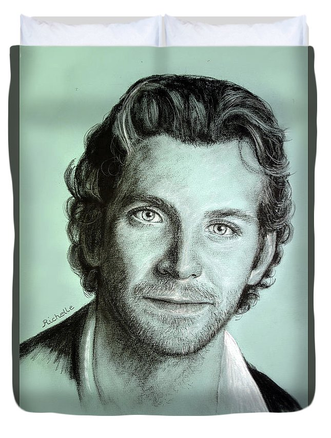 Bradley Cooper Duvet Cover featuring the painting Bradley Cooper Charcoal Portrait by Richelle Siska