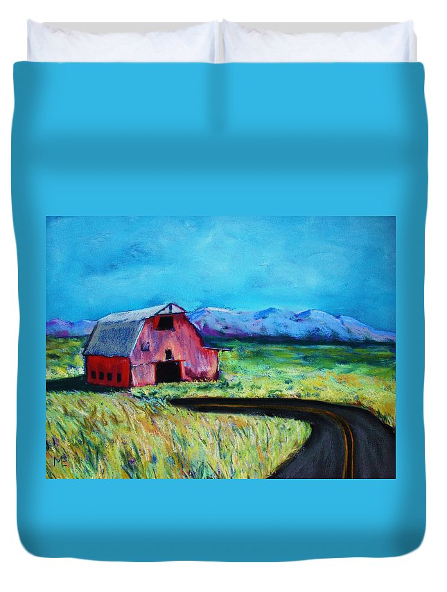 Barn Duvet Cover featuring the pastel Bradley's Barn by Melinda Etzold