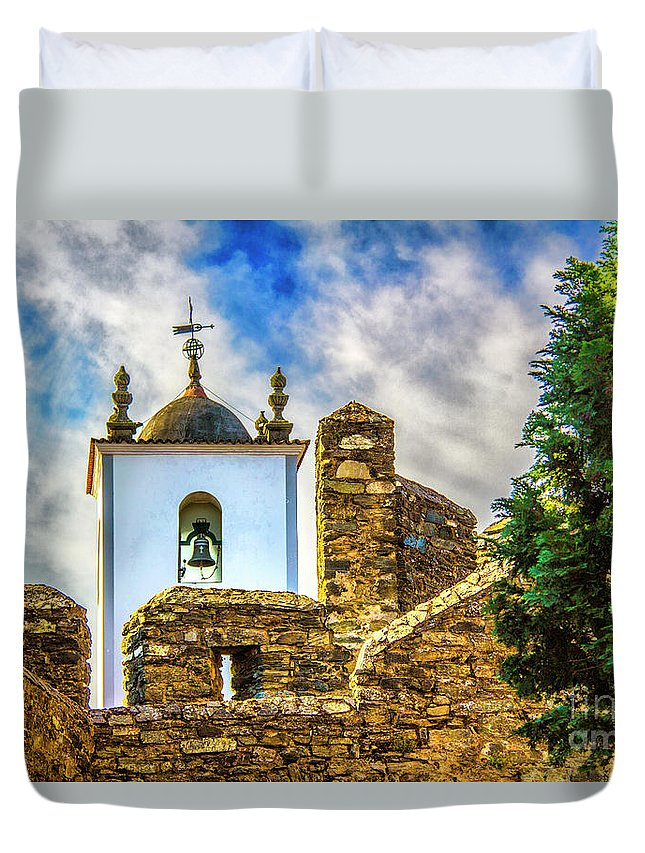 Braganca Duvet Cover featuring the photograph Braganca Bell Tower by Roberta Bragan