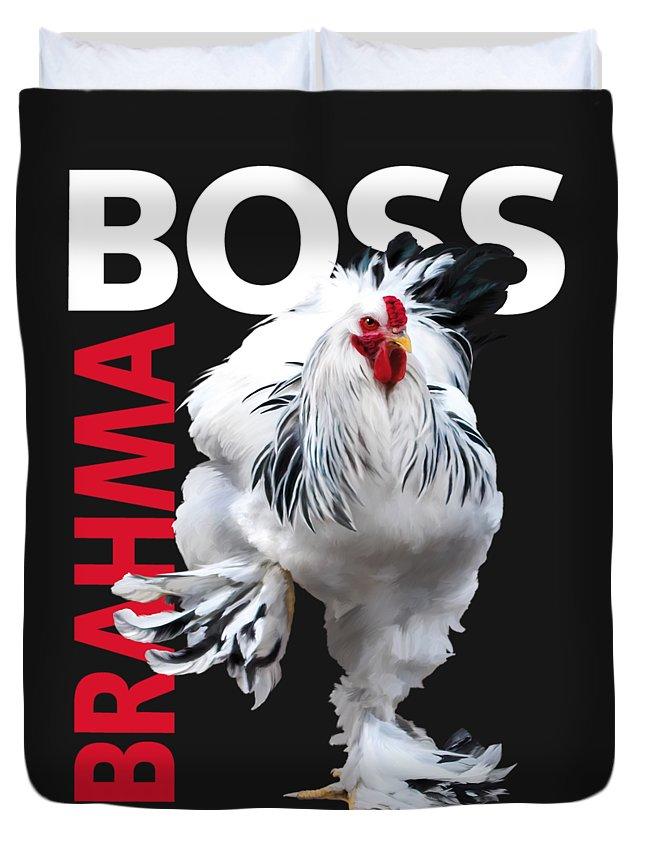 Light Brahma Duvet Cover featuring the digital art Brahma Boss II T-shirt Print by Sigrid Van Dort
