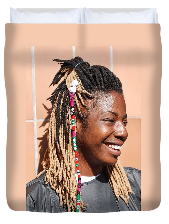 People Duvet Cover featuring the photograph Braided Lady by Rob Hans