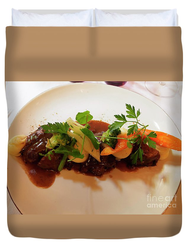 Braised Duvet Cover featuring the photograph Braised Beef With Vegetables by Louise Heusinkveld