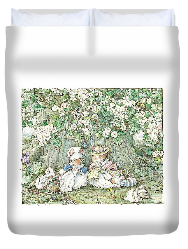 Brambly Hedge Duvet Cover featuring the drawing Brambly Hedge - Hawthorn Blossom And Babies by Brambly Hedge